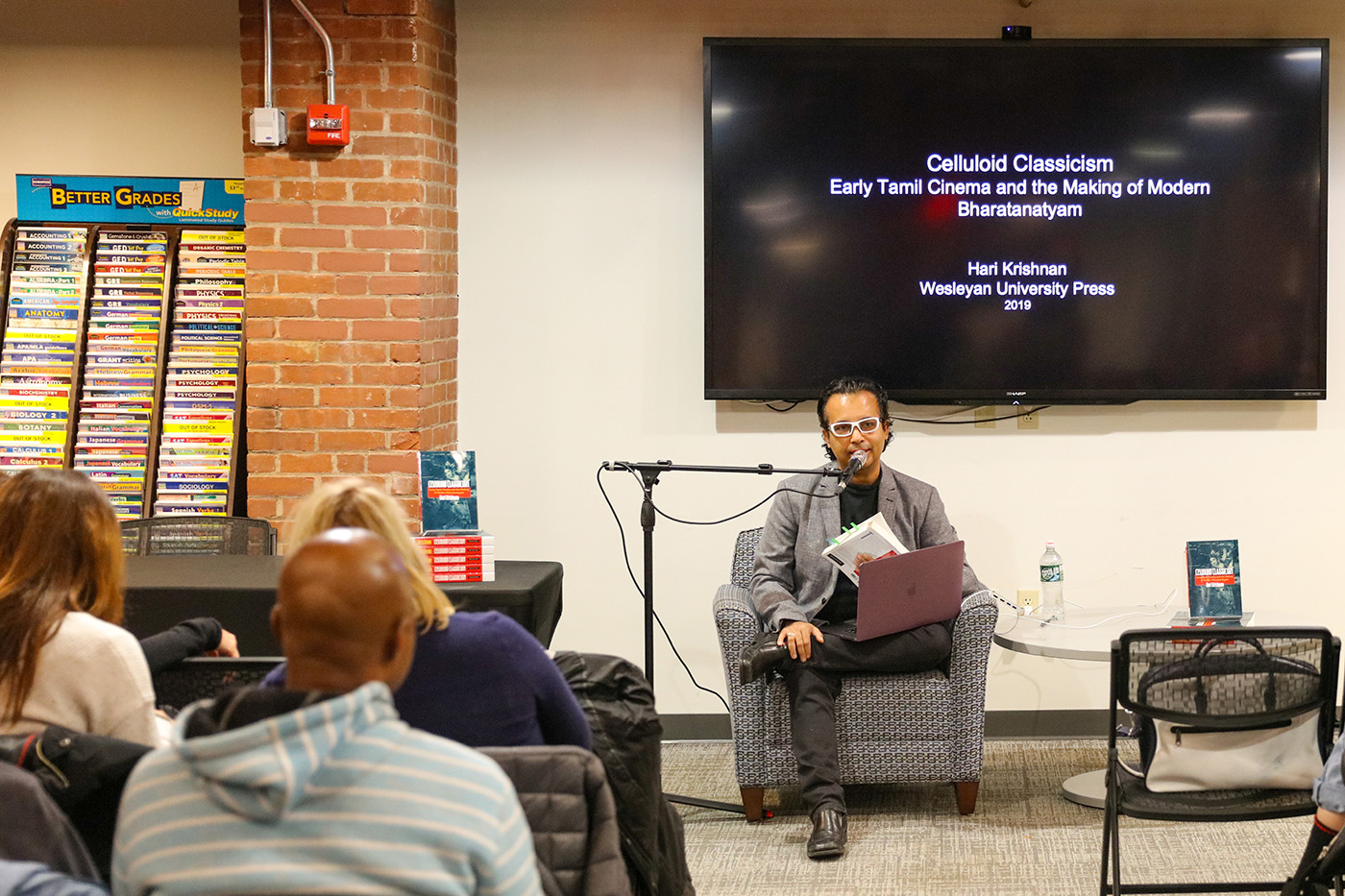 On Dec. 3, Hari Krishnan, associate professor of dance, presented a talk about his new book, Celluloid Classicism: Early Tamil Cinema and the Making of Modern Bharatanatyam, at the Wesleyan RJ Julia Bookstore.