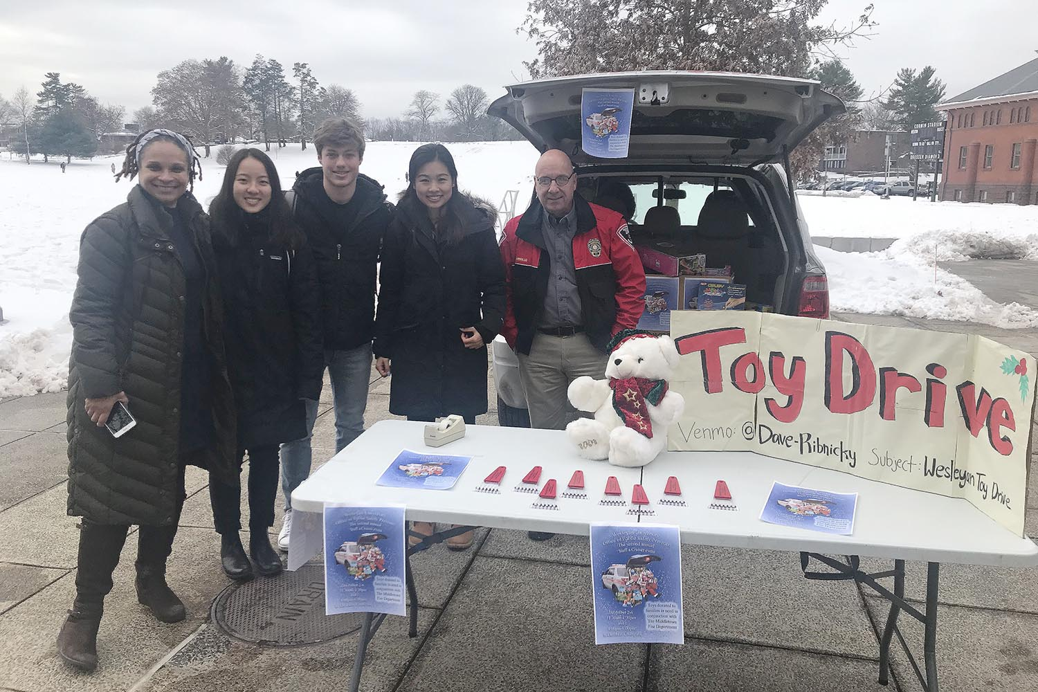 From Dec. 2-6, the Office Public Safety hosted its second annual Stuff a Cruiser toy drive. Several student-athletes, members of the Student Athlete Advisory Committee, and members of Delta Kappa Epsilon fraternity volunteered to help collect donations.