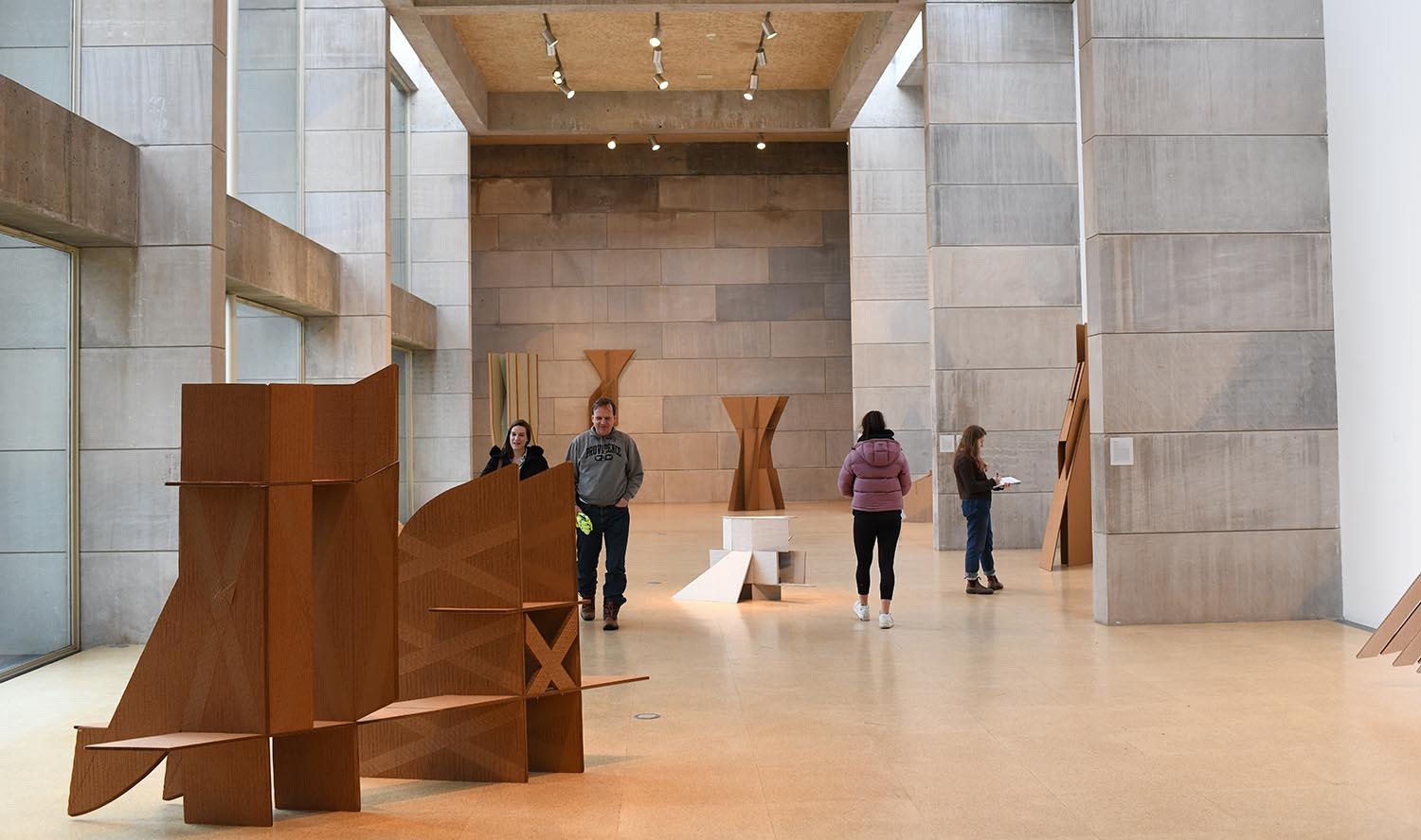 """Diane Simpson: Cardboard-Plus, 1977–1980"" is on exhibit through March 1 at the Zilkha Gallery, at 283 Washington Terrace. In this installation, Simpson presents her large-scale cardboard sculptures and collaged constructions in their most comprehensive presentation since 1980. These works represent an important transition in the artist's practice, from drawing and printmaking into sculpture. Simpson's later work, for which she is so well-known, contains references to the architecture of clothing and fashion. In contrast, the body of work in ""Cardboard-Plus"" is much more formal in nature. ""Cardboard-Plus"" is a rare moment to view works by the artist not often seen in the last 40 years. The gallery is open noon to 5 p.m. Tuesdays and Wednesdays; noon to 7 p.m. Thursdays; and noon to 5 p.m. Fridays through Sundays. (Photo courtesy of the Center for the Arts)"