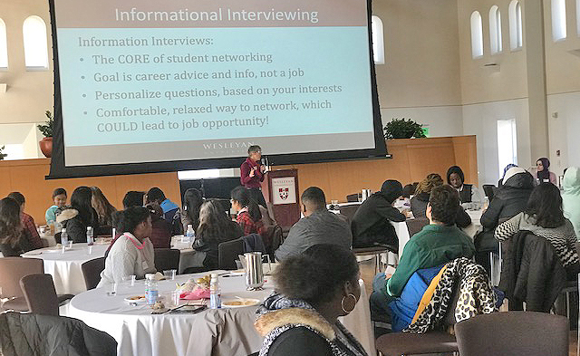 Ruthann Coyote, career advisor at the Gordon Career Center, offers tips on informational interviewing during the Pathways to Inclusive Education professional development brunch.