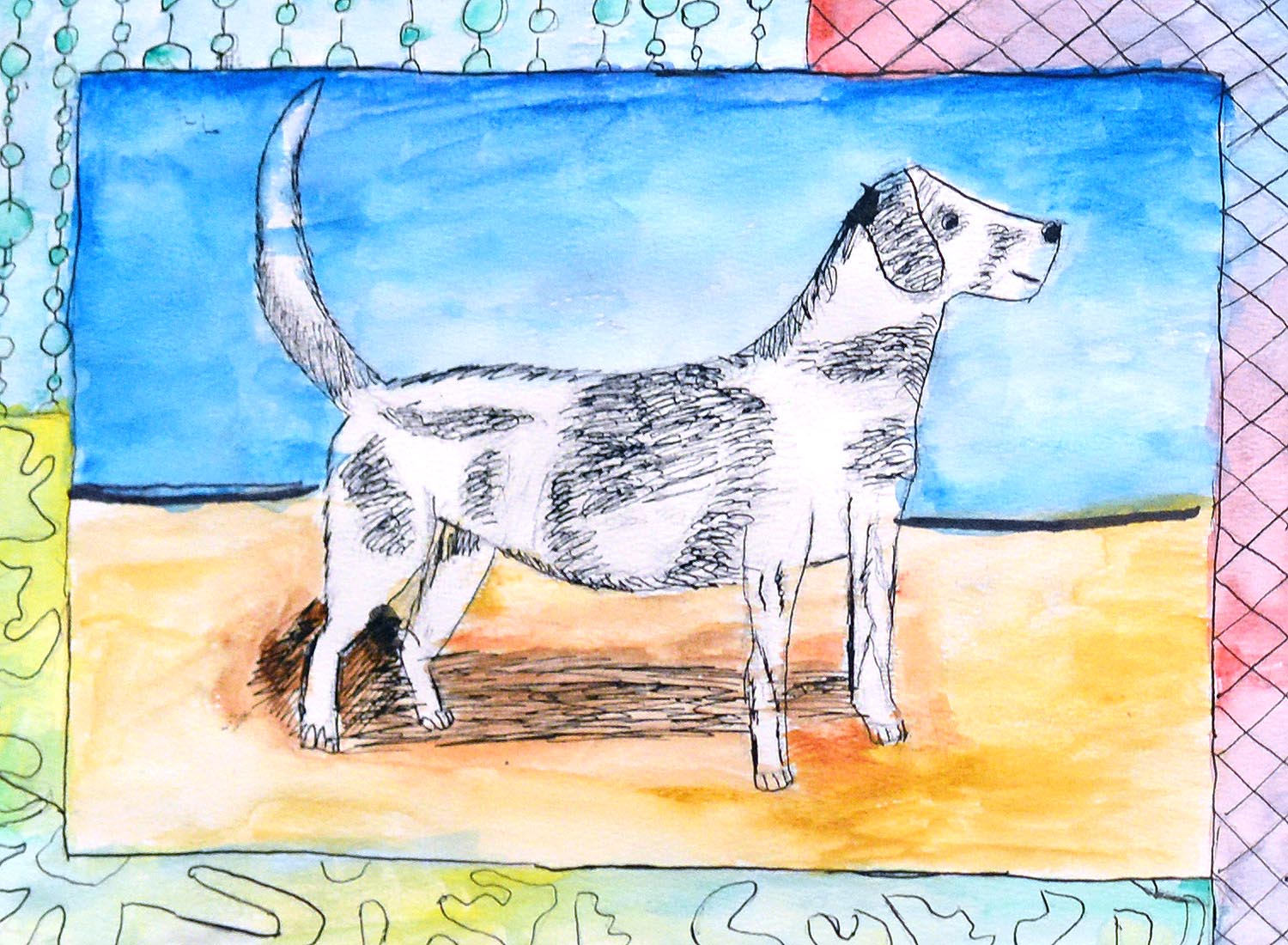 Charlie, a seventh-grader from Woodrow Wilson Middle School, created this artwork as part of a lesson using pen and ink for animal illustration.