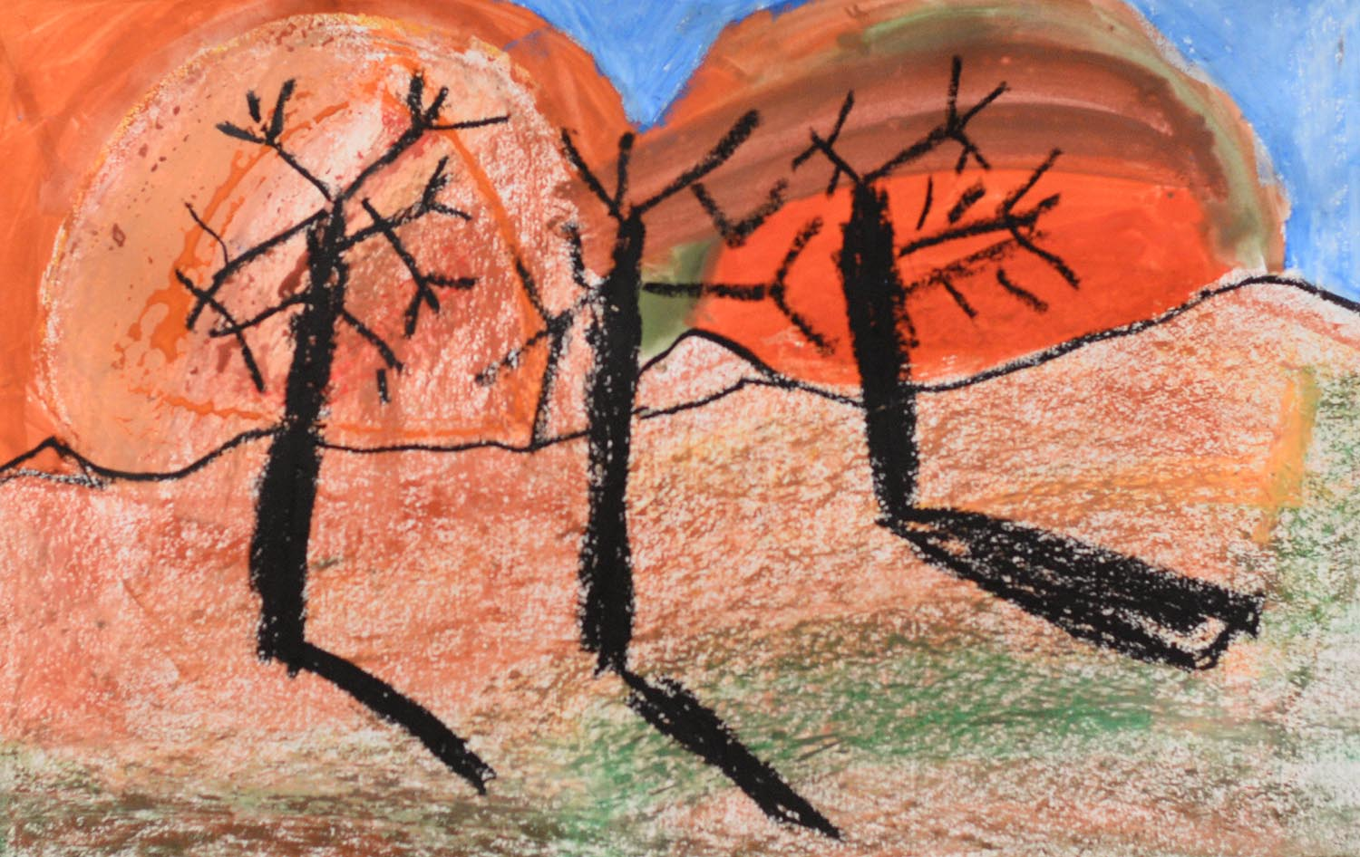 Dillian, a third-grader at Snow Elementary School, created this fall earth-tone landscape.