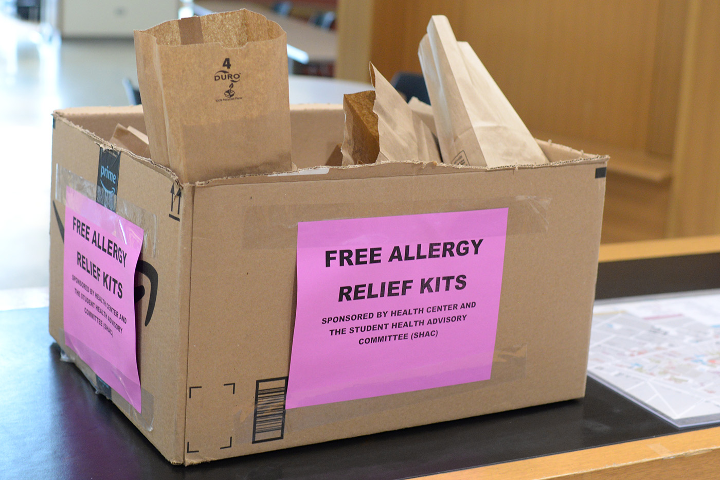 The Health Center and Student Health Advisory Committee is offering free allergy relif kits in Usdan.