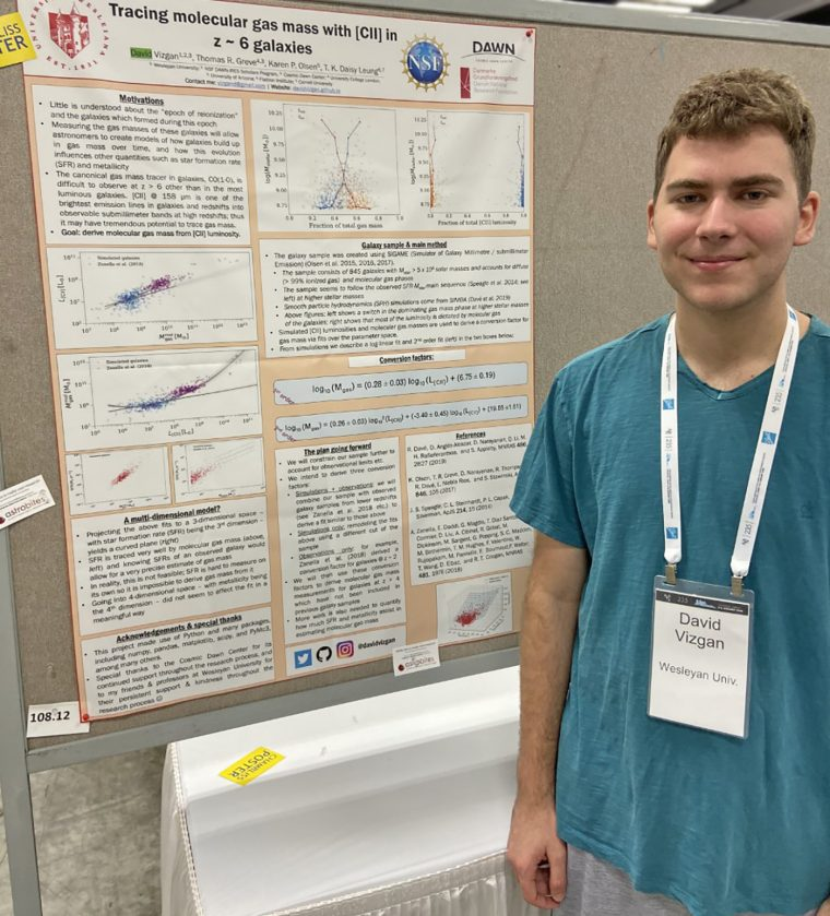 David Vizgan '21 was awarded a Chambliss Medal by the American Astronomical Society for his poster presentation at the January meeting.