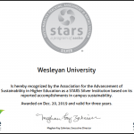 Wesleyan Receives STARS Silver Rating for Sustainability Achievements