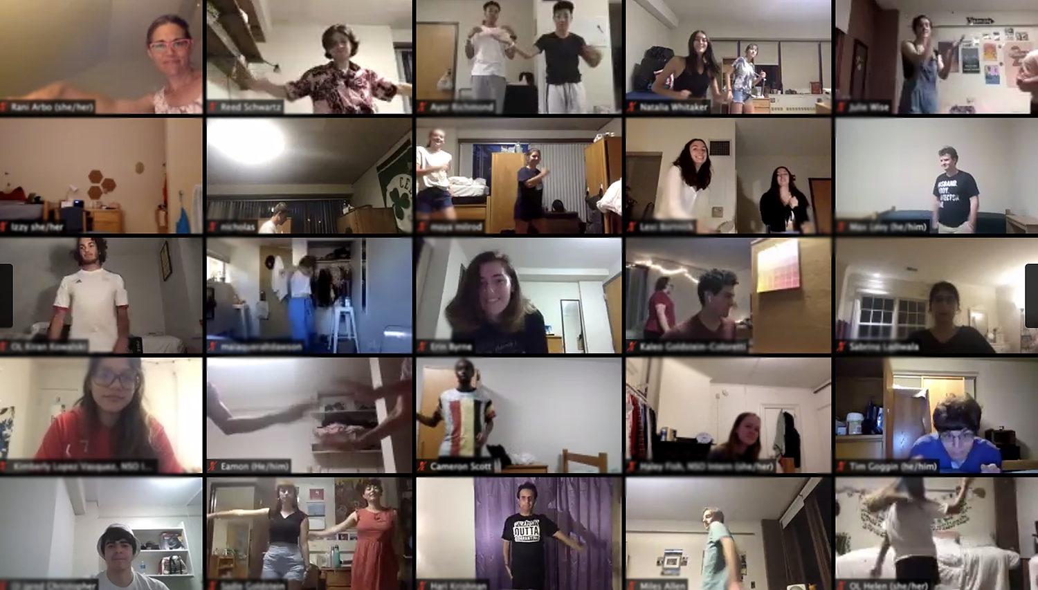 While the experience is usually done in-person on Andrus Field, this year the choreographers taught the students movements through 25-minute virtual breakout groups. At the end, the groups joined together and made a final performance set to the same music.