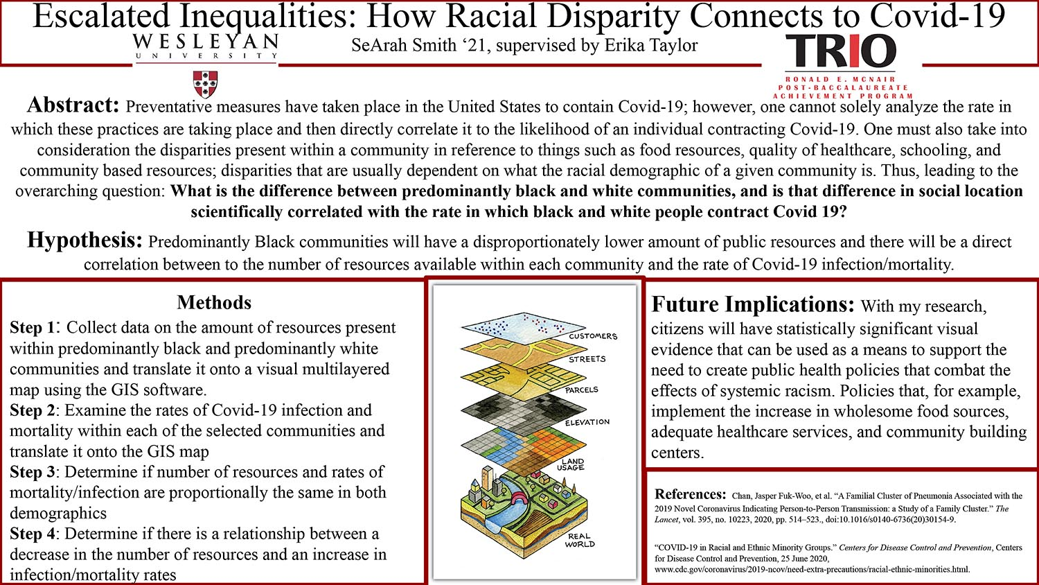 "SeArah Smith '21 presented her poster titled ""Escalated Inequalities; How Racial Disparity Connects to Covid-19."""