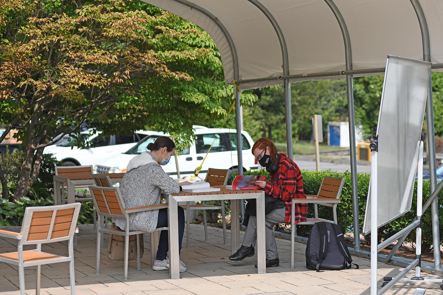 A canopy was installed behind Fisk Hall to allow for an outdoor teaching and studying space.