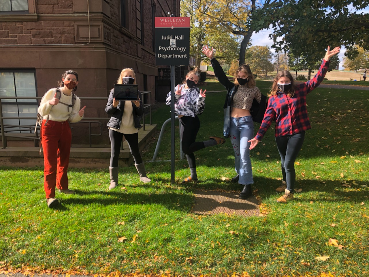 On Oct. 27 and Nov. 5, more than 100 students participated in an on-campus Psychological Scavenger Hunt created by Steve Stemler, associate professor of psychology, and Sarah Carney, assistant professor of the practice in psychology. Carney, pictured second from left, spoke with Stemler through Zoom during the event.
