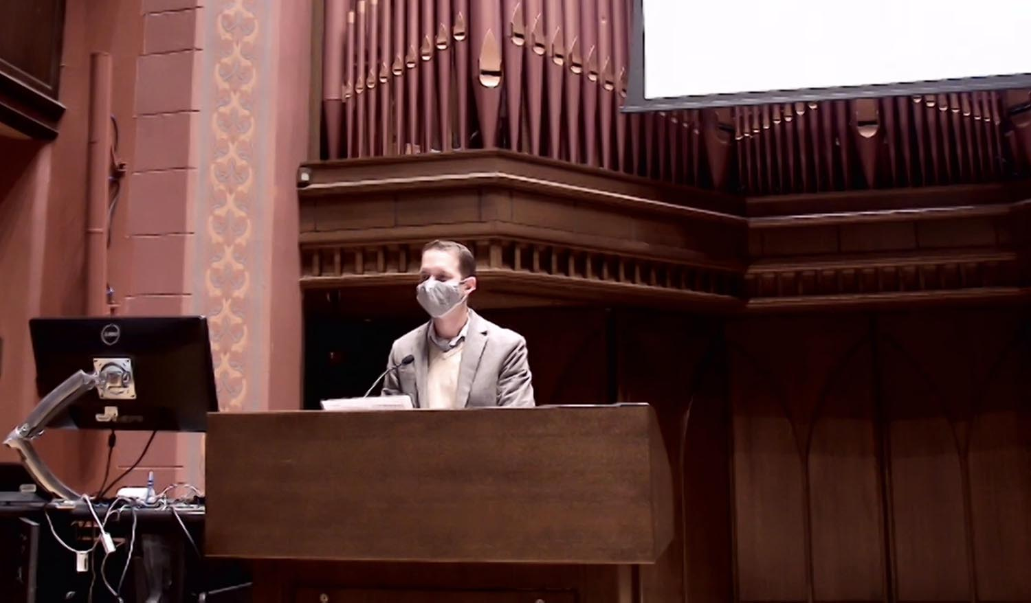 Joseph Slaughter, visiting assistant professor of history, read from Psalm 136: 1-9; 23-26