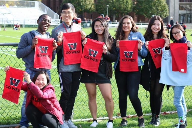 Wickham and friends at Homecoming during his first year at Wesleyan.