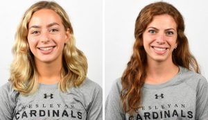 Women's cross country team members and classmates Jane Hollander '23 and Sara Greene '23