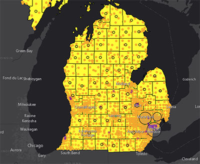 Michigan Racial Demographics and COVID-19 cases by County from April 2020.
