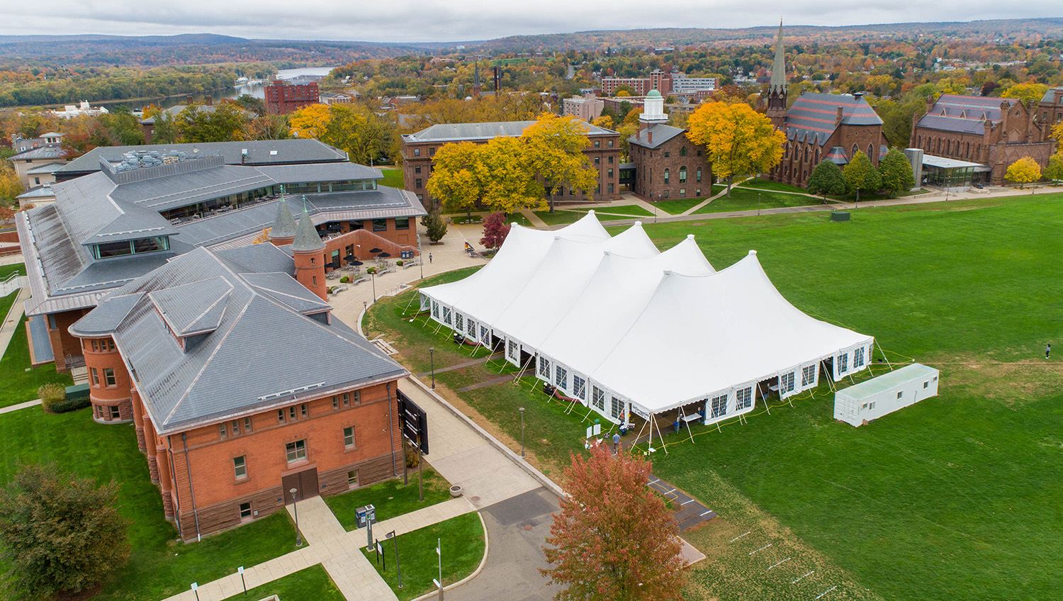 Wesleyan's COVID-19 testing facility opened Aug. 17, 2020, on Andrus Field. Testing operations continue today inside Beckham Hall.