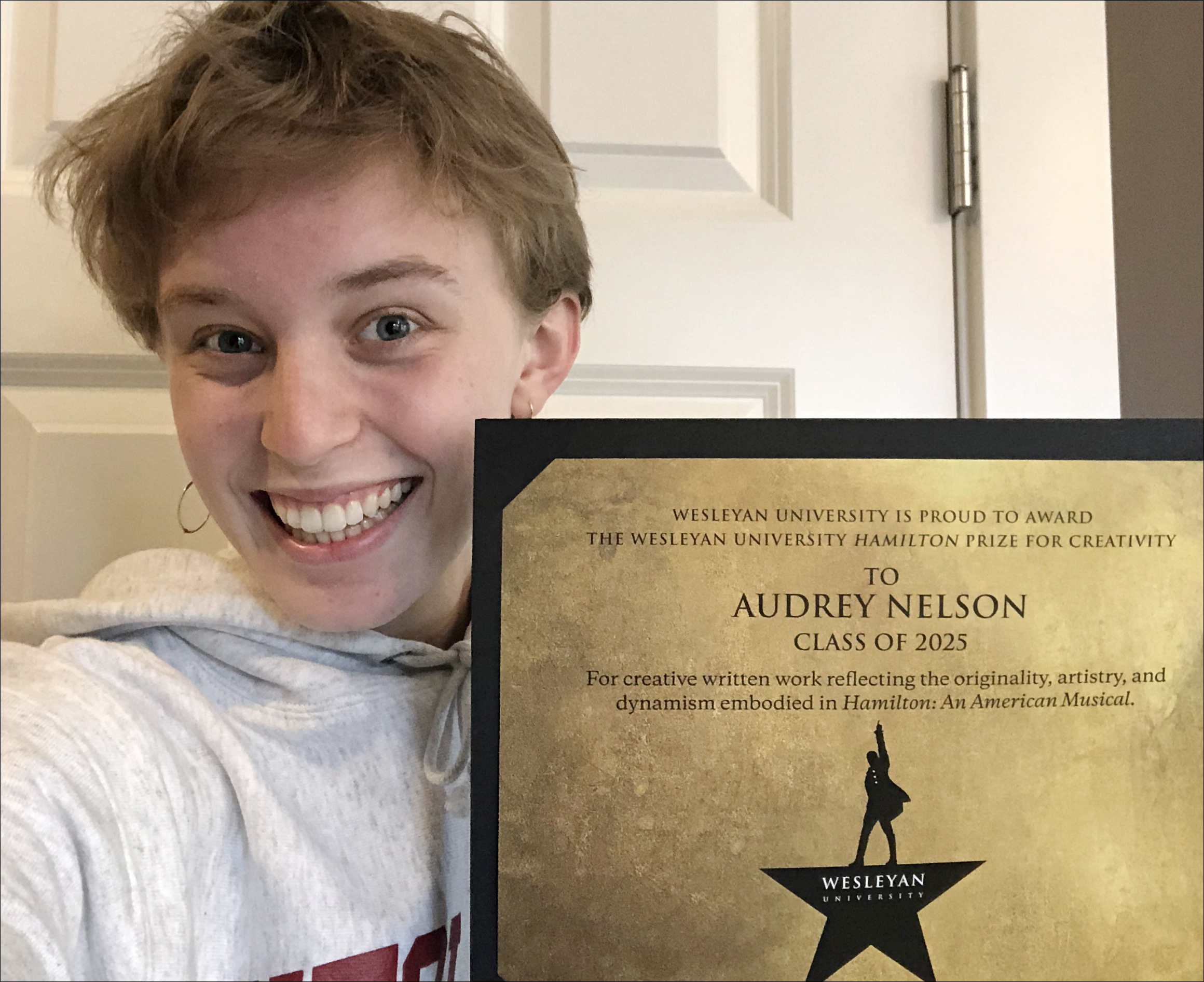 Audrey Nelson '25 is the recipient of the 2021 HamiltonPrize for Creativity, which comes with a four-year, full-tuition scholarship to attend Wesleyan University.