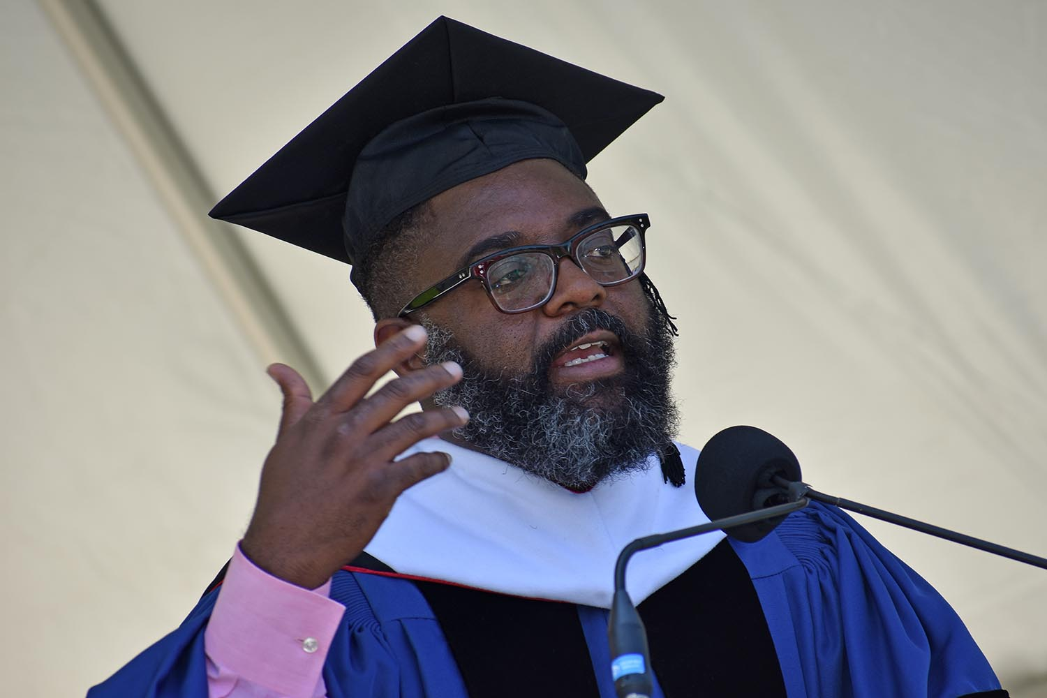 Reginald Dwayne Betts delivered the 2021 Commencement Address during Wesleyan's 189th Commencement Ceremony on May 26.