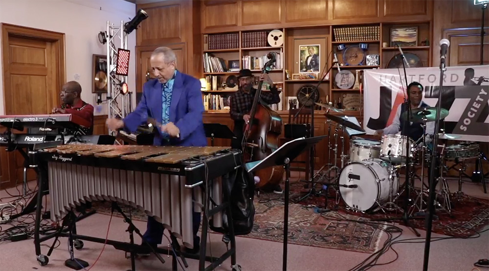 """Also on May 10, vibraphonist Jay Hoggard '76, MA '91 presented a live-streamed concert titled """"Middletown on the Map."""" The concert, presented by The Hartford Jazz Society, the Middletown Commission on the Arts and The Library Studio, featured the """"three B's of the jazz tradition""""— blues, bop, and ballads— with original innovations."""