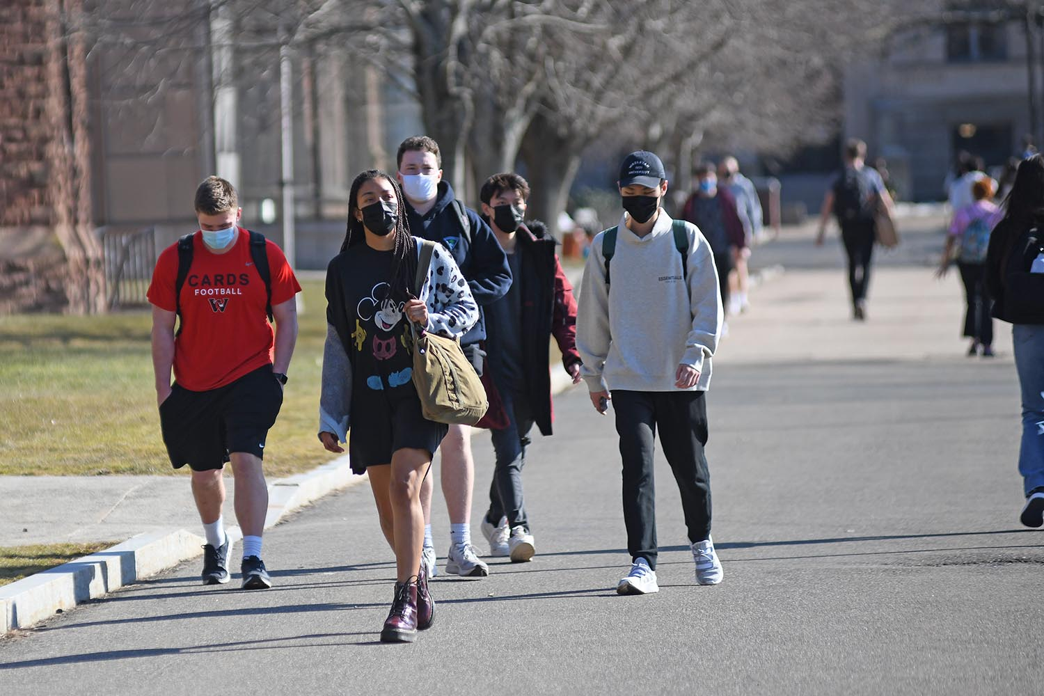 Students, who are in their fifth week of spring semester classes, continue to wear face coverings in all public places during the COVID-19 pandemic.