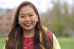 Anna Lu '17, who is majoring in the Science in Society Program, has a philosophy concentration with a focus on ethics and political philosophy. She's also minoring in East Asian studies. (Photo by Olivia Drake)