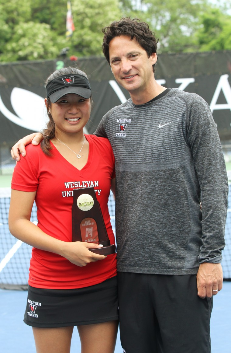 28May2016  Eunice Chong of Wesleyen University won the NCAA Division III Womens Tennis Championship match over Juli Raventos of Williams at Kalamazoo Colleges Stowe Stadium.