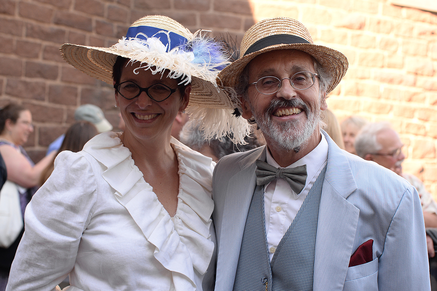 Ellen Nerenberg, dean of the arts and humanities, the Hollis Professor of Romance Languages and Literatures, and Lutz Huwel, professor of physics, dressed in period costume.