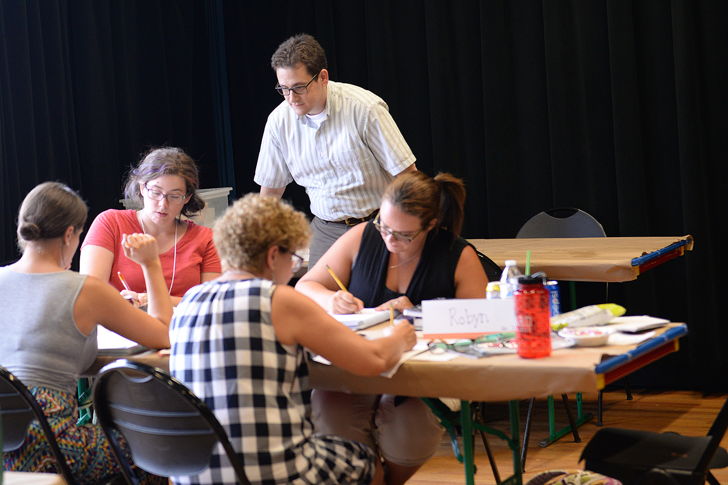 Christopher Rasmussen works with a group of local math teachers.