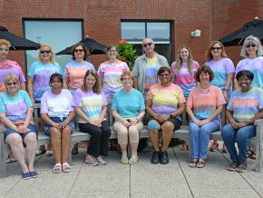 Wesleyan University staff sport their tie-dye t-shirts, Aug. 12, 2016.