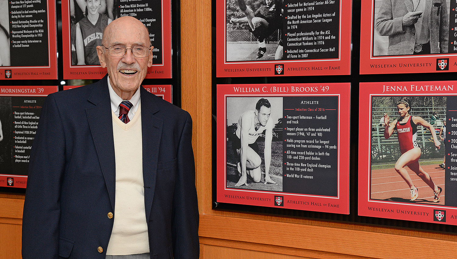 Bill Brooks '49, P '71 was a dual-sport athlete at Wesleyan, excelling in both football and track. On the football field, he played an integral role in three consecutive undefeated seasons; 1946 (7-0), '47 (7-0) and '48 (8-0). He played running back for the Cardinals and holds the program record for longest scoring run from scrimmage, in which he ran 94 yards against Swarthmore in 1947. Additionally, Brooks achieved great success on the track and is Wesleyan's all-time record holder in both the 100 and 220-yard runs, crossing the finish line in :09.7 and :23.3, respectively.