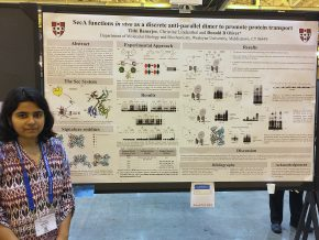 "Molecular biology and biochemistry graduate student Tithi Banerjee defended her graduate thesis work on ""SecA Functions in vivo as 1M6N-like Dimer to Promote Protein Transport."" She is currently working with Donald Oliver, the Daniel Ayres Professor of Biology, professor and chair of molecular biology and biochemistry."