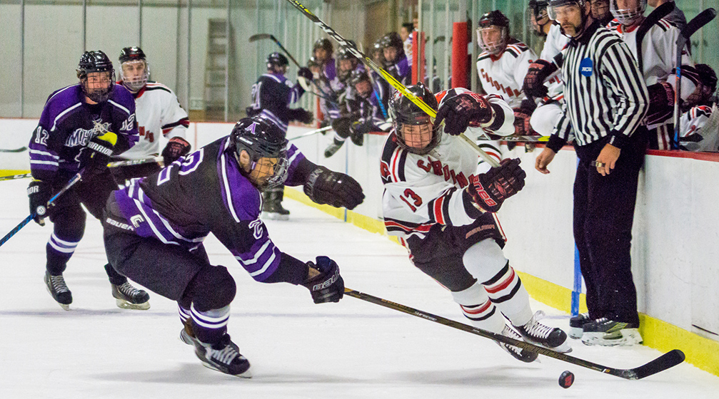 The men's hockey team defeated Amherst 3-0 on Dec. 2, 2016 and claimed the Little Three title on Feb. 17. (Photo by Jonas Powell '18)