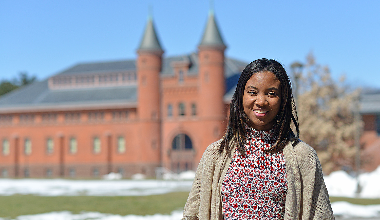 """Jamaica native Shantelle Brown '19is the recipient of a Davis Projects for Peace grant. She will return to Jamaica this summer to help 24 high school become """"truly aware of their power as change makers, proud of their individuality, and believe that their dreams are attainable."""" (Photo by Olivia Drake)"""