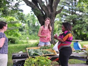 Jen Kleindienst, sustainability director; Long Lane Farm member Alea Laidlaw '20; and Sandy Durosier, area coordinator in Residential Life, talk about gardening at the Farmer's Market.