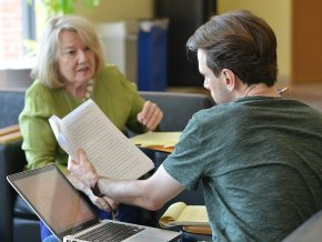 Journalist and author Lis Harris works one-on-one with a Wesleyan Writers Conference participant on June 15.