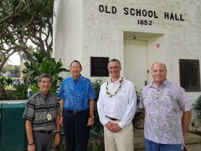 President Roth also visited the Punahou School, where Barack Obama graduated in 1979. Pictured at left is Myron Arakawa, director of college guidance; Warren Luke '66; Michael Roth and Hardy Spoehr '66.