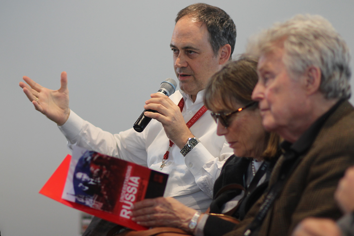 David Abramson '87, Foreign Affairs Analyst at the U.S. Department of State, asks a question at a panel held by Wesleyan alumni on Saturday afternoon regarding Russia's economic development, the prospects for foreign investors, and the range of careers available to graduates in Russian studies.