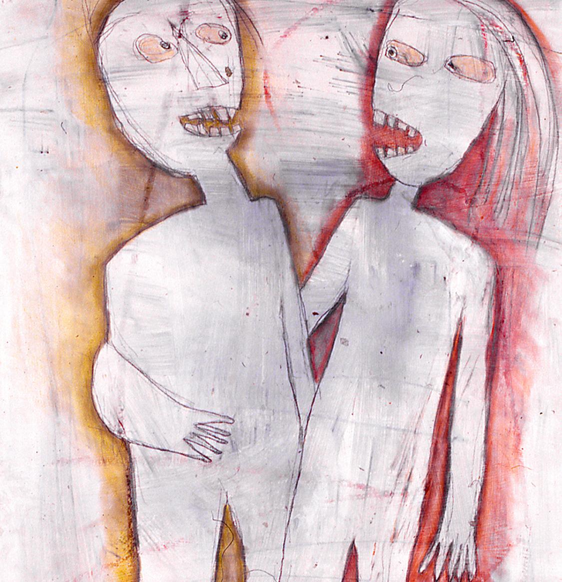 Friends (detail). 2002. Pastel, graphite. 42x26 inches.